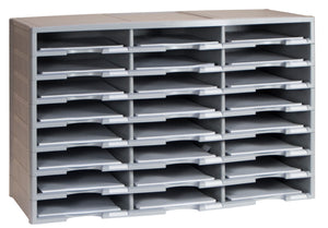 24 Compartment Literature Sorter, Gray