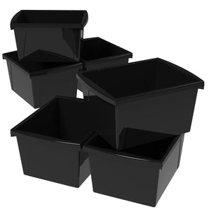 4 Gallon Storage Bin, Black (6 units/pack)