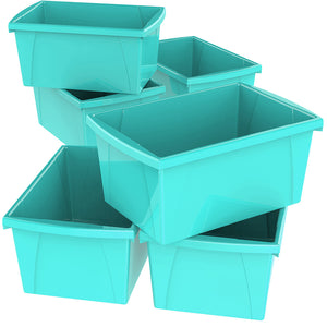 5.5 Gallon Storage Bins, Teal (6 units/pack)