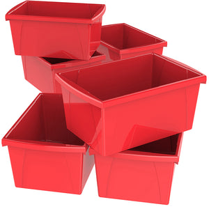 5.5 Gallon Storage Bins,Red (6 units/pack)