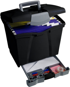 Portable File Box with Supply Drawer, Black - Storex