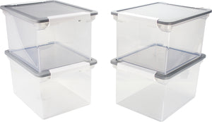 Storex Storage File Tote+Locking Handles/ Clear-Silver Lid (4 units/pack)