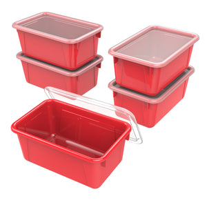 Small Cubby Bin with lid, Red (5 units/pack)