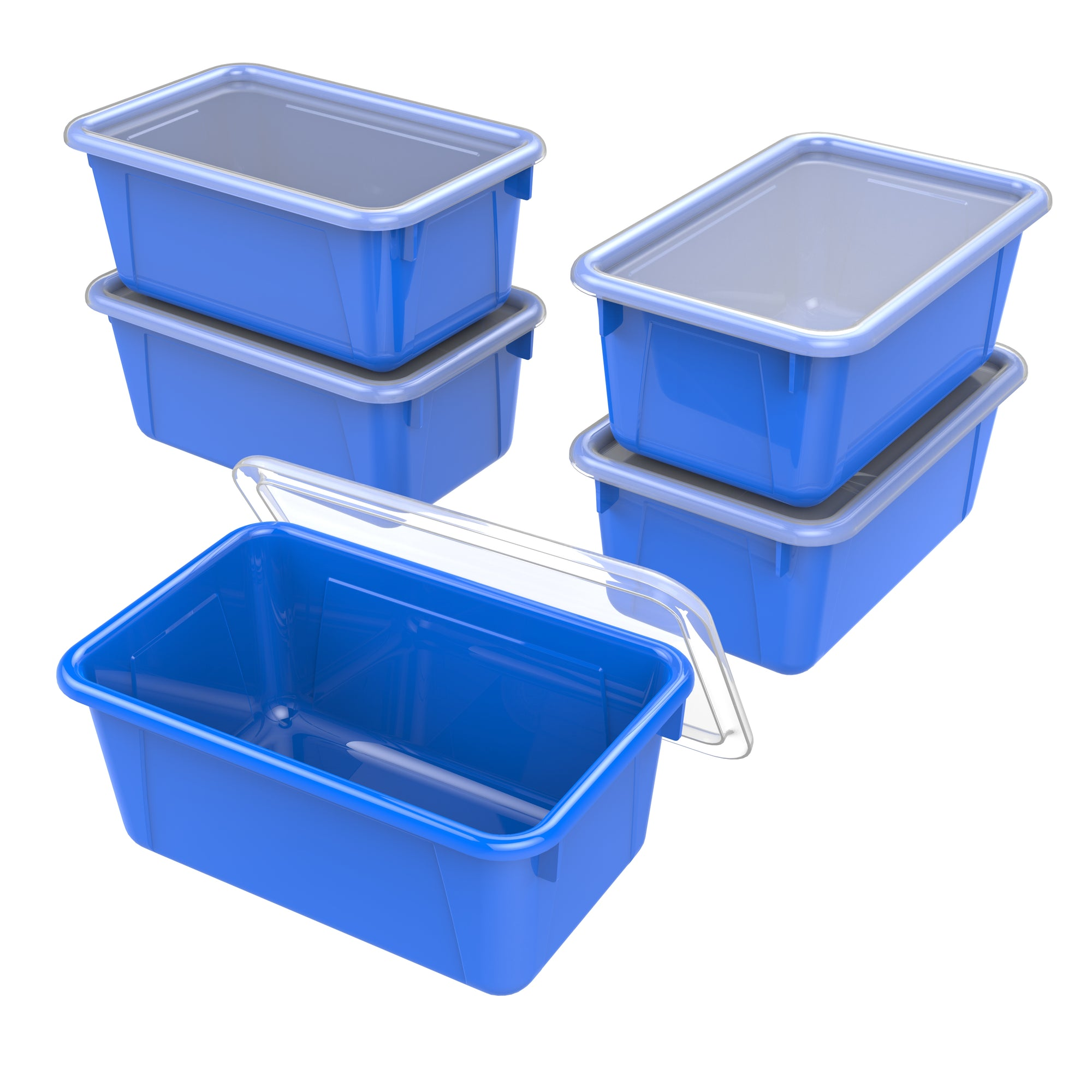 Small Cubby Bin with lid, Blue (5 units/pack)
