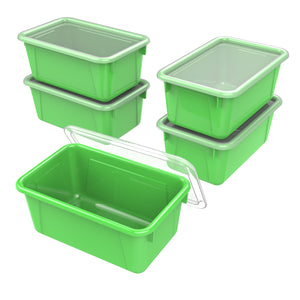 Small Cubby Bin with lid, Green (5 units/pack)