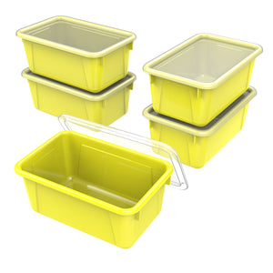 Small Cubby Bin with lid ,Yellow (5 units/pack)