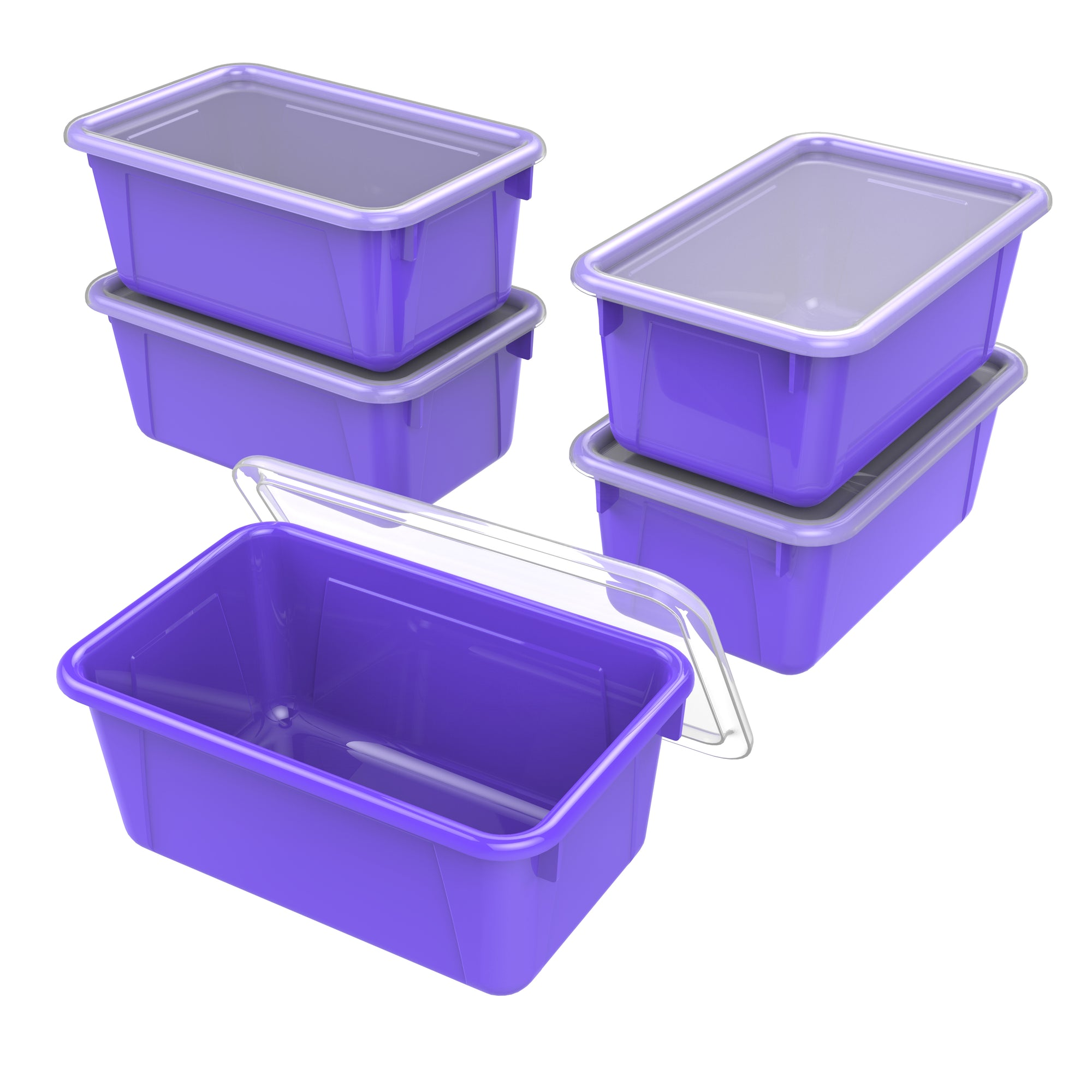 Small Cubby Bin with lid, Purple (5 units/pack)