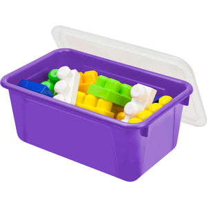 Small Cubby Bin with lid, Purple (5 units/pack) - Storex