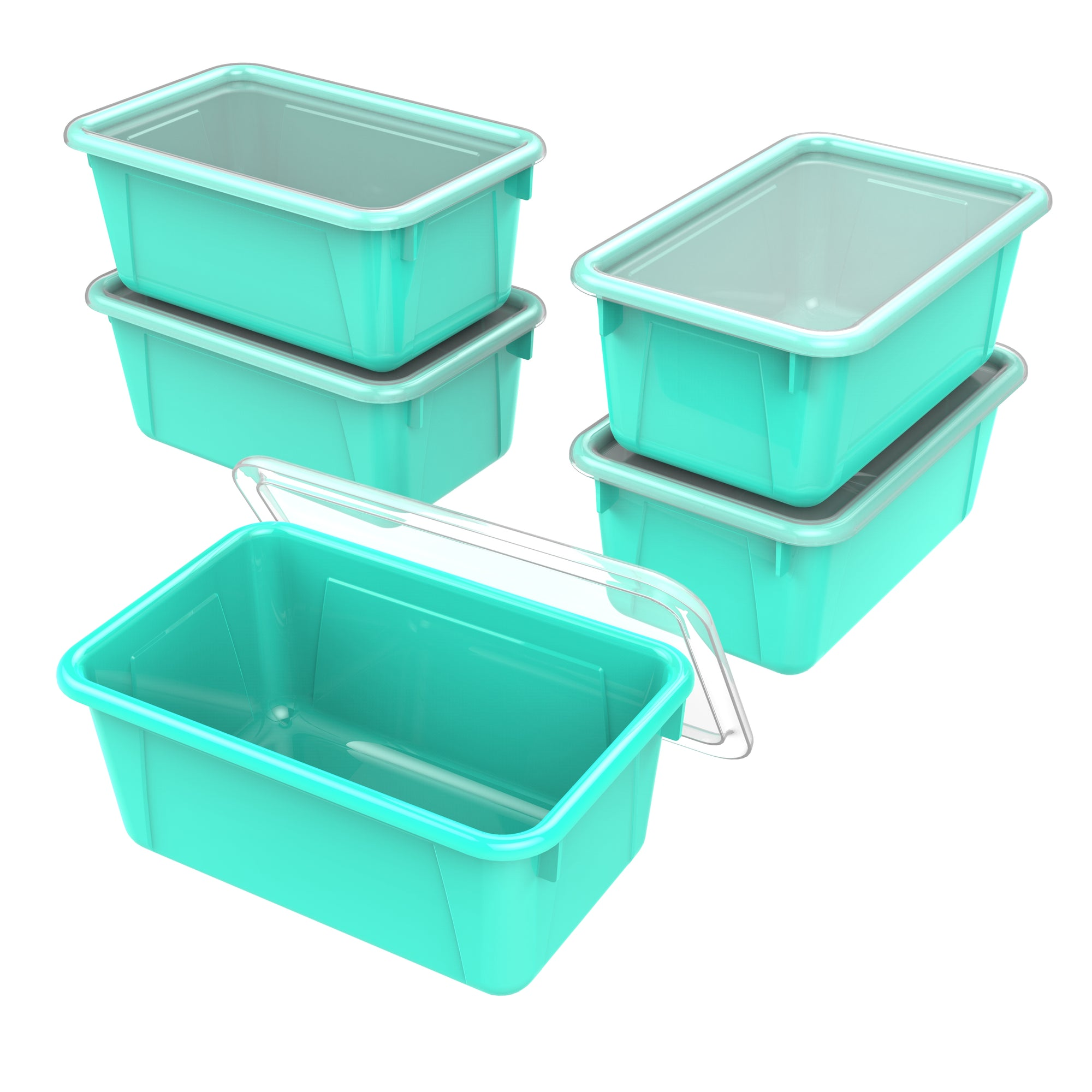 Small Cubby Bin with lid, Teal (5 units/pack)