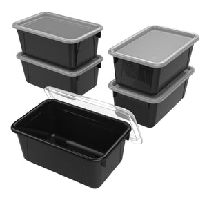 Storex Small Cubby Bin with Cover, Black, 5-Pack