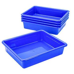 Storex Storage Tray, Letter Size, 10 x 13 x 3 Inches, Blue, 5-Pack