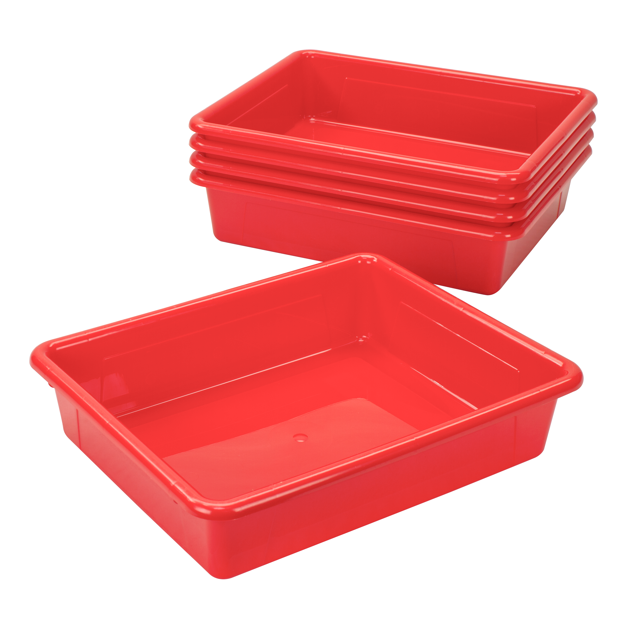 Storex Storage Tray, Letter Size, 10 x 13 x 3 Inches, Red, 5-Pack