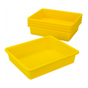 Storex Storage Tray, Letter Size, 10 x 13 x 3 Inches, Yellow, 5-Pack
