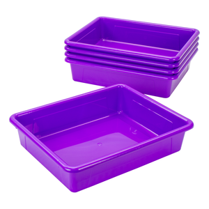 Storex Storage Tray, Letter Size, 10 x 13 x 3 Inches, Violet, 5-Pack