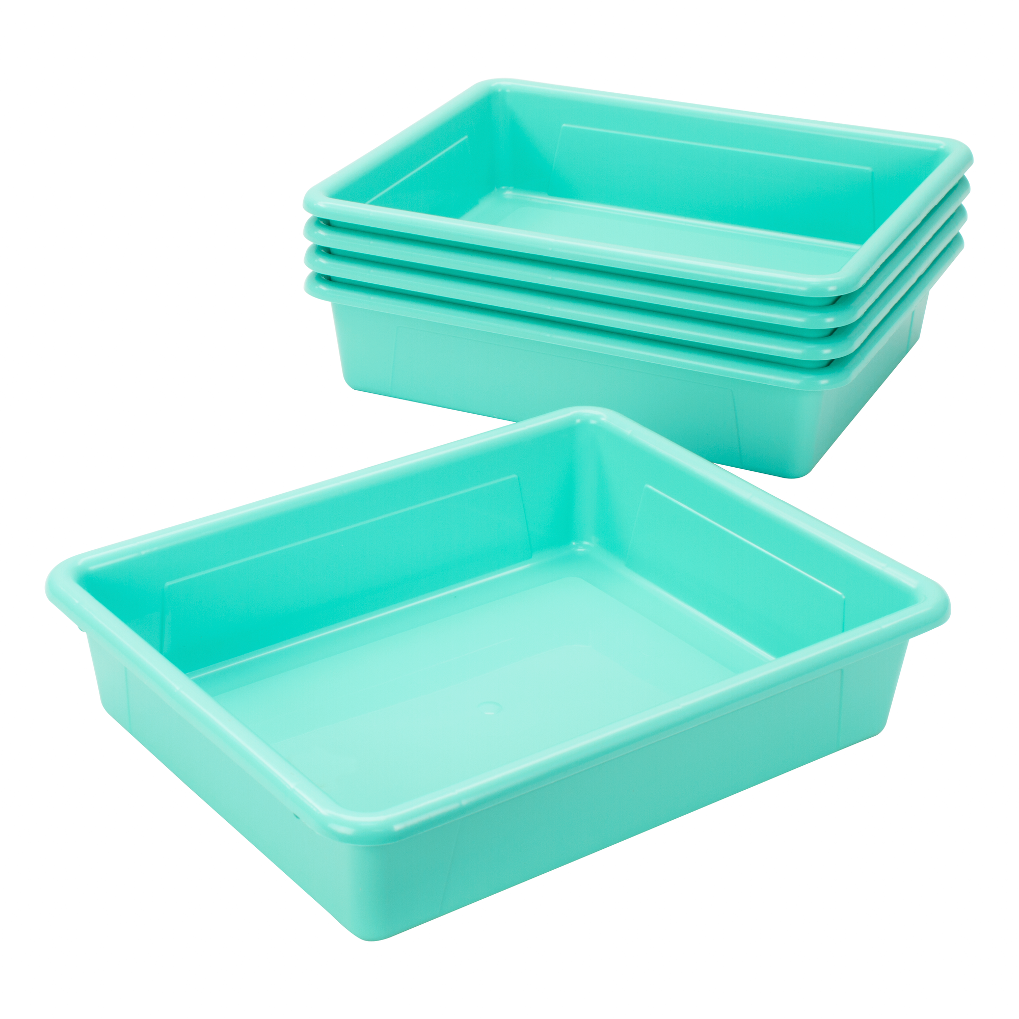 Storex Storage Tray, Letter Size, 10 x 13 x 3 Inches, Teal, 5-Pack