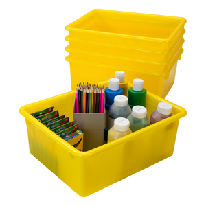 Storex Storage Tray, Letter Size, 10 x 13 x 5 Inches, Yellow, 5-Pack
