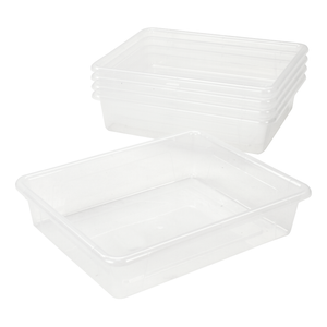 Storex Flat Storage Tray, Letter Size, 10 x 13 x 3 Inches, Unbreakable Clear, 5-Pack