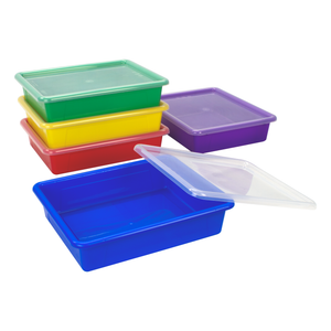 Storex Flat Storage Tray with Lid, Letter Size, 10 x 13 x 3 Inches, Assorted Colors, 5-Pack
