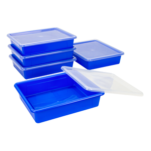 Storex Flat Storage Tray with Lid, Letter Size, 10 x 13 x 3 Inches, Blue, 5-Pack