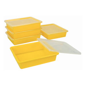 Storex Flat Storage Tray with Lid, Letter Size, 10 x 13 x 3 Inches, Yellow, 5-Pack