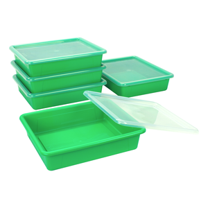 Storex Flat Storage Tray with Lid, Letter Size, 10 x 13 x 3 Inches, Green, 5-Pack