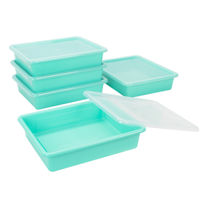 Storex Flat Storage Tray with Lid, Letter Size, 10 x 13 x 3 Inches, Teal, 5-Pack
