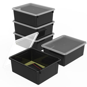 Storex Deep Storage Tray with Lid, Letter Size, 10 x 13 x 5 Inches, Black, 5-Pack