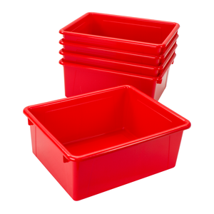 Storex Deep Storage Tray with Lid, Letter Size, 10 x 13 x 5 Inches, Red, 5-Pack