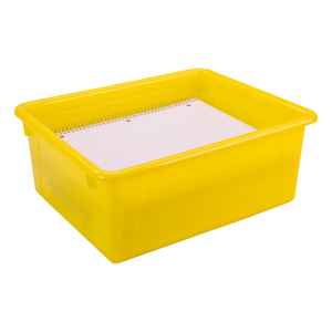 Storex Deep Storage Tray with Lid, Letter Size, 10 x 13 x 5 Inches, Yellow, 5-Pack