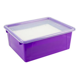 Storex Deep Storage Tray with Lid, Letter Size, 10 x 13 x 5 Inches, Violet, 5-Pack