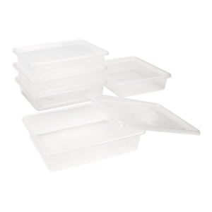 Storex Flat Storage Tray with Lid, Letter Size, 10 x 13 x 3 Inches, Translucent, 5-Pack