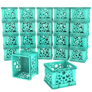 Storex Micro Crate, Teal, 18-Pack