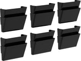 Set of 2, Black Wall File Pockets (Case of 6 sets of 2 pcs) - Storex