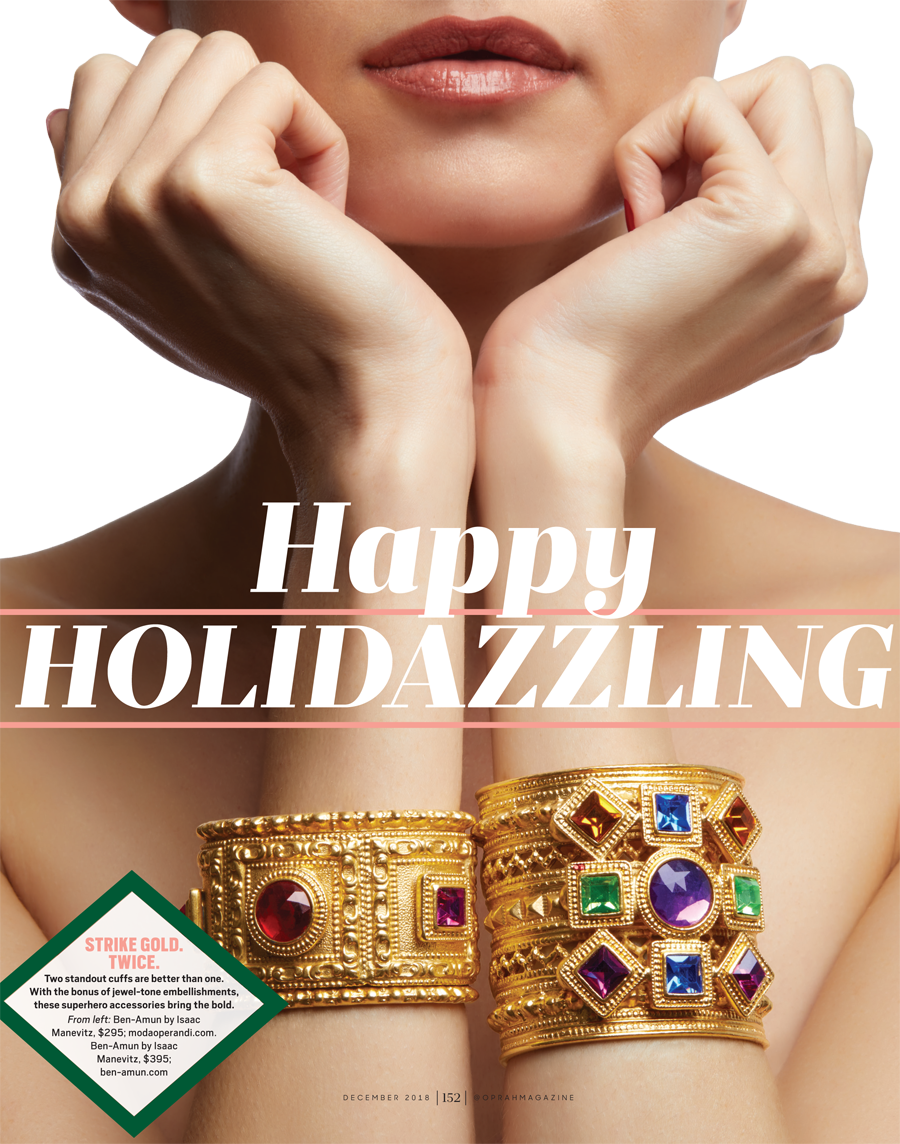 O, The Oprah Magazine December 2018 | Oprah's Favorite Things | Costume Jewelry | Colorful Gold Cuff Bracelets
