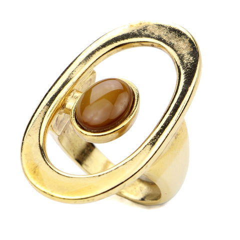Sculptural Garden Oval Ring - Ben-Amun