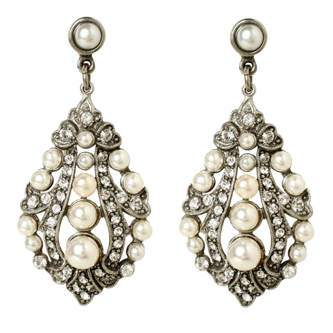Pearl Crystal Miu Post Earrings | Pearl Earrings | Crystal Earrings | Swarovski Earrings | Statement Jewelry | Ben-Amun