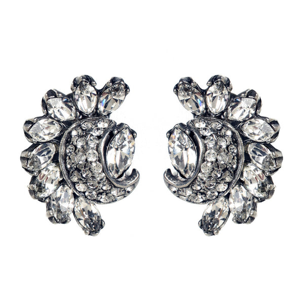 Crystal Half Moon and Pave Earrings - Ben-Amun