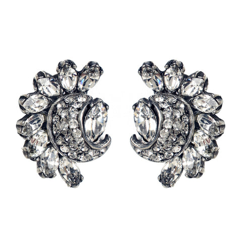 Crystal Half Moon and Pave Earrings