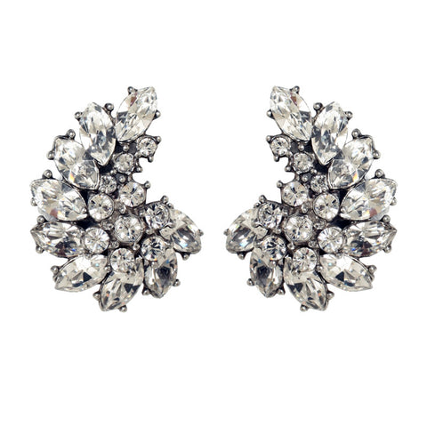 Perfect Bridal and Evening Accessory. Crystal Crescent Earrings by Ben-Amun. Elegant Clip On. Silver Brass and Swarovski.