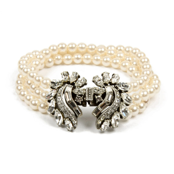 Pearl Bracelet with Rounded Swirl Crystal Clusters - Ben-Amun
