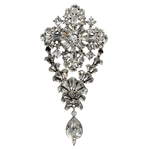 Crystal Diamond Shaped Pin with Hanging Crystal