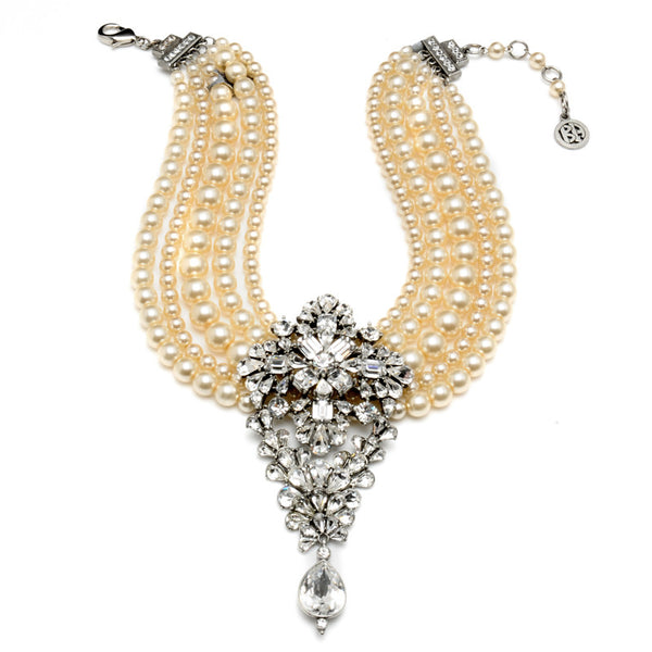Multi Strand Pearl Necklace with Crystal Pendant - Ben-Amun