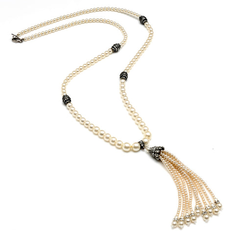 Pearl and Crystal Tassel Necklace - Ben-Amun