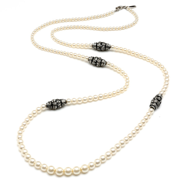 Graduated Pearl Necklace with Crystal Rondelles - Ben-Amun