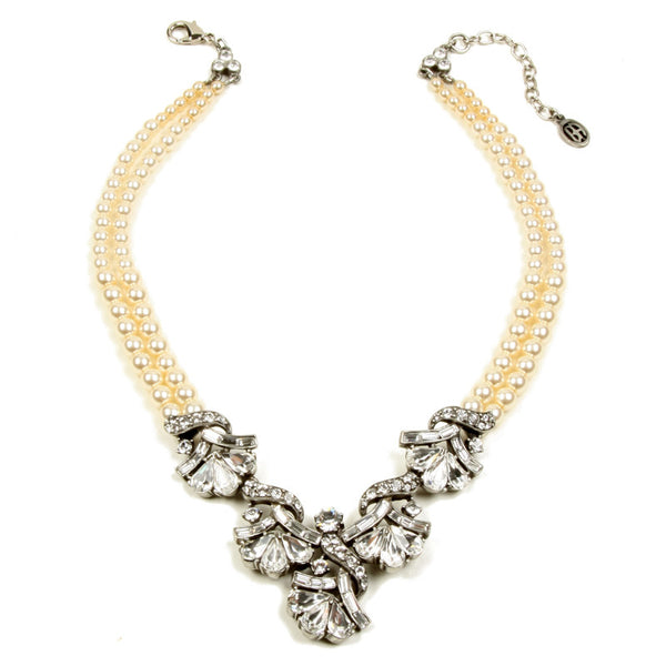 Pearl and Crystal Vintage Necklace - Ben-Amun
