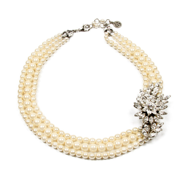 Pearl Necklace with Crystal Leaf Pendant - Ben-Amun