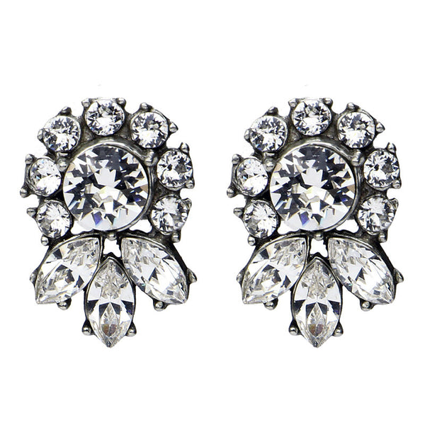 Crystal Marquise Round Cut Post Earrings - Ben-Amun