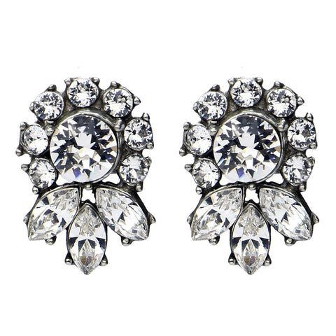 Crystal Marquise Round Post Earrings - Ben-Amun