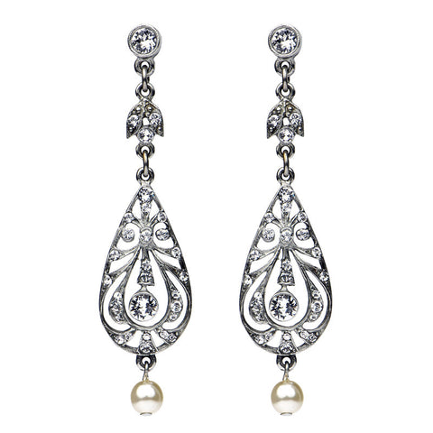 Damask Oval Crystal Pearl Post Earrings - Ben-Amun
