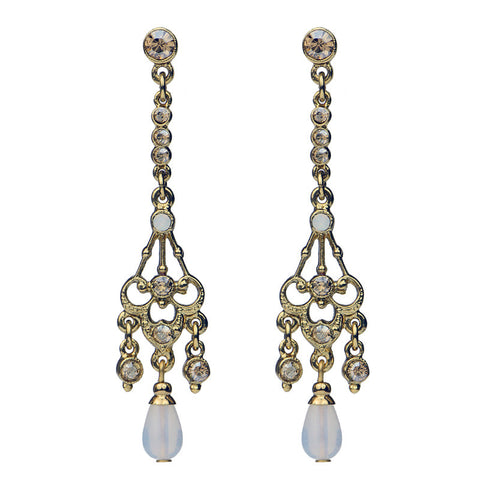 Gold Crystal Pearl Post Drop Earrings - Ben-Amun